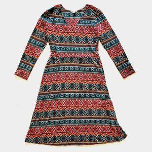 Olivia Matthews Aztec V-neck Boho Dress